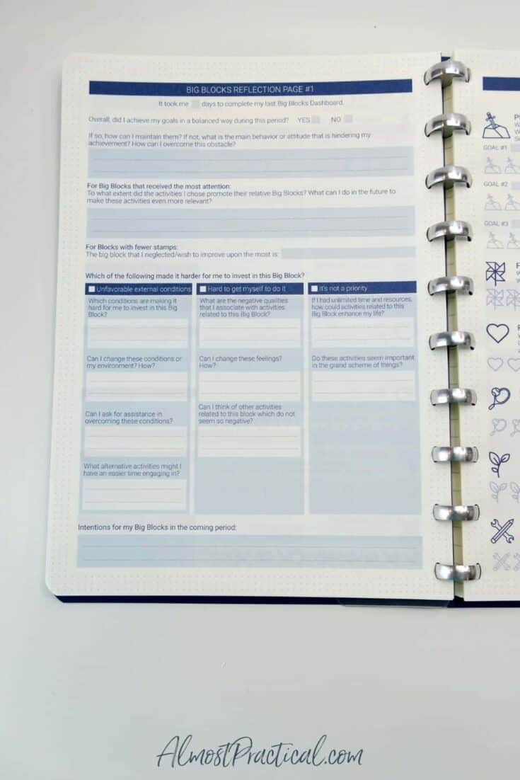 A reflection worksheet from The Perfect Notebook