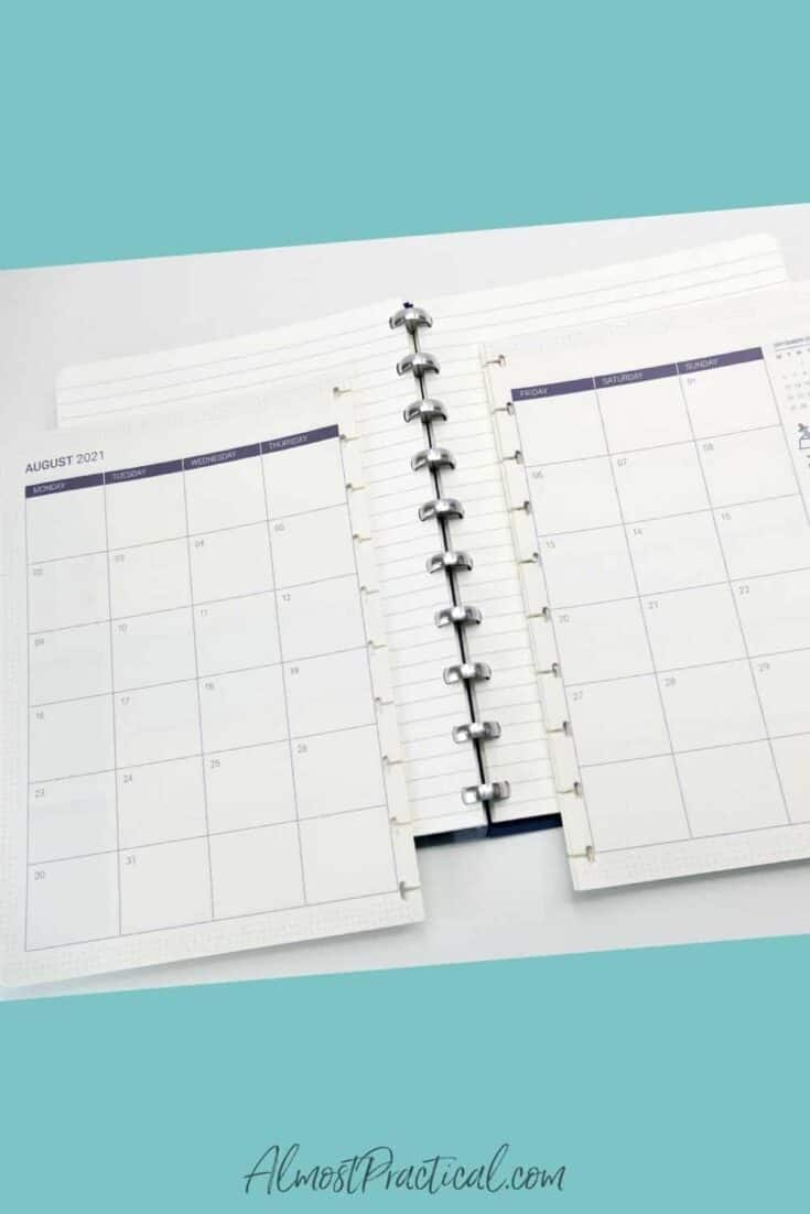 Calendar refill pages for The Perfect Notebook