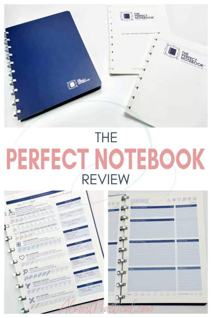 A collage of The Perfect Notebook and some of the inside pages