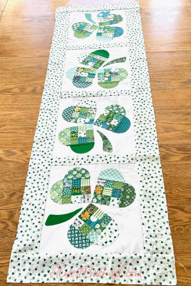 st patricks day table runner quilt top