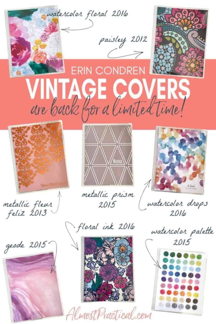 photo of 8 Erin Condren vintage LifePlanner covers.