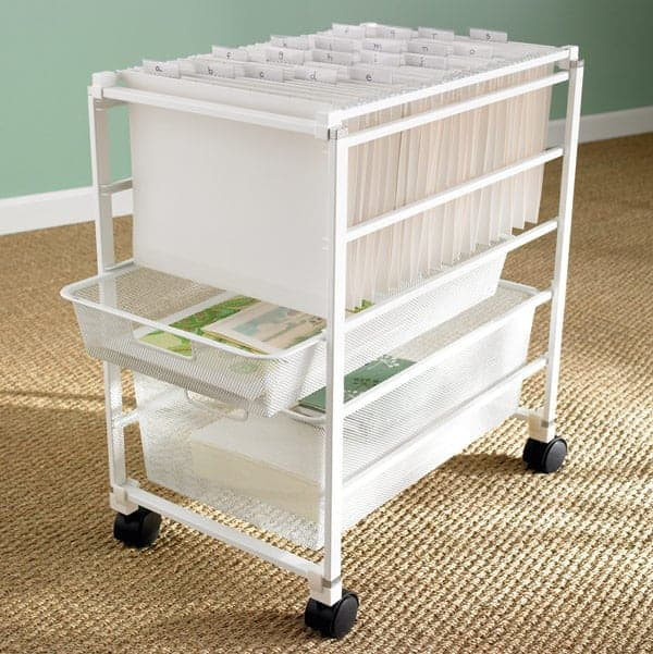 white file cart with hanging files