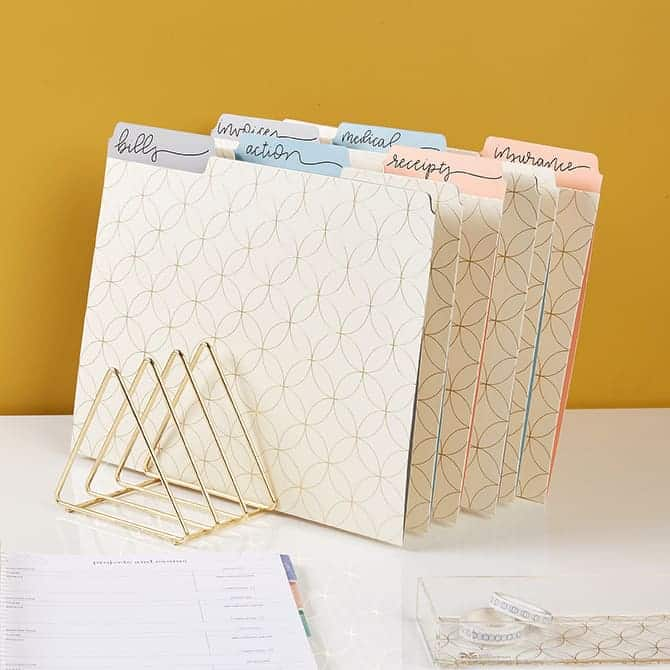 set of pretty file folders in a desktop stand