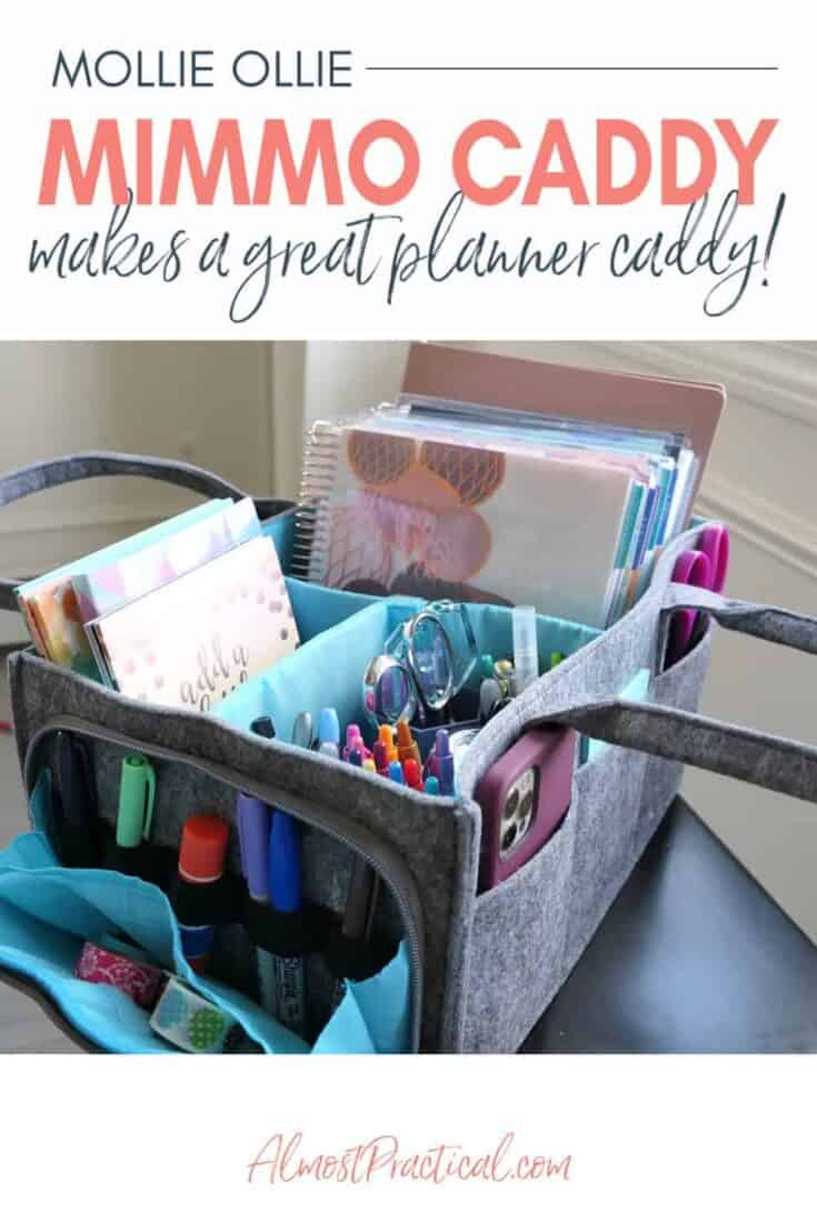 planner caddy filled with planners and supplies