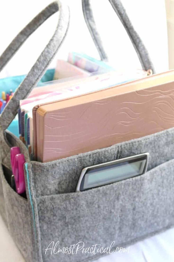 felt caddy full of planners and planner accessories