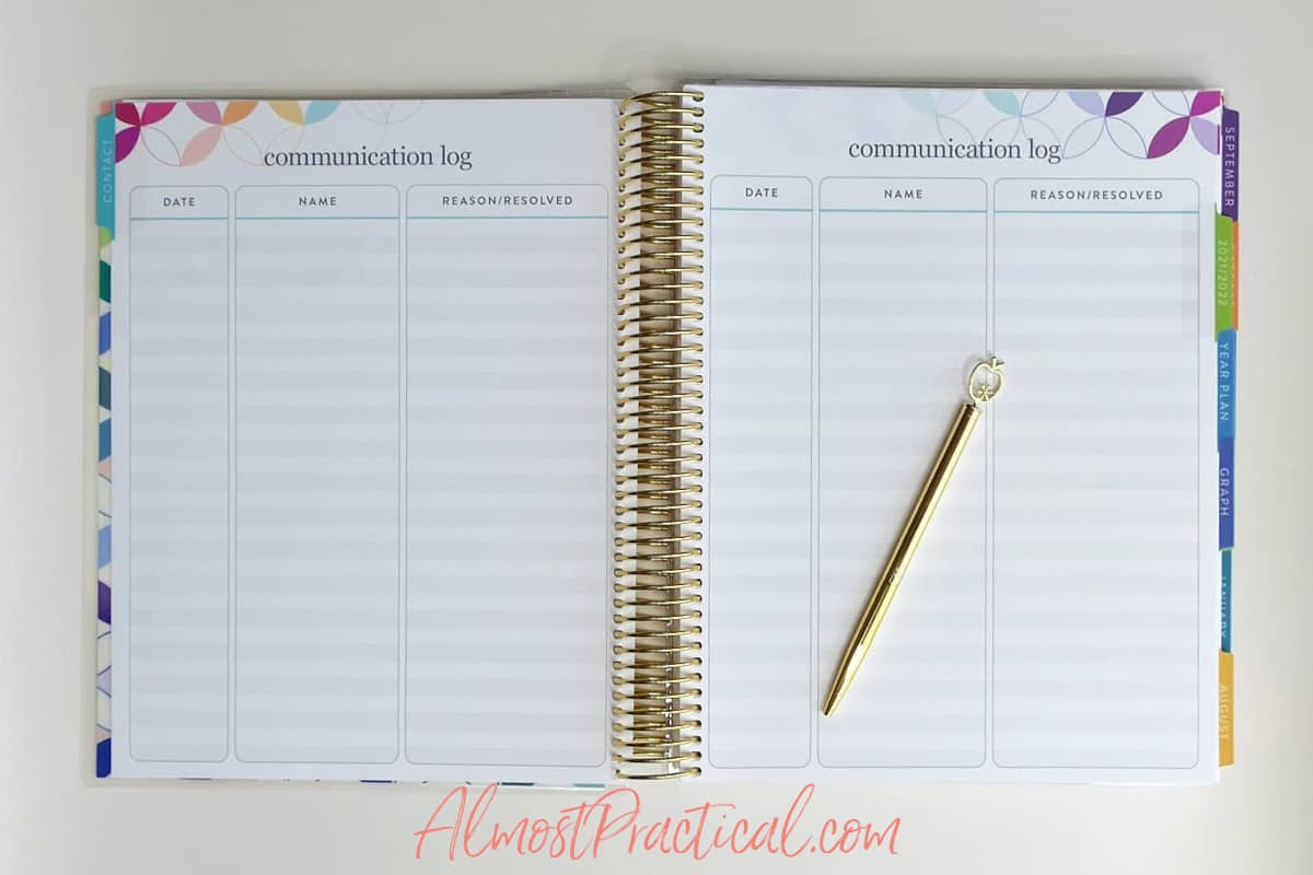 communication log pages in the Erin Condren Teacher Lesson Planner