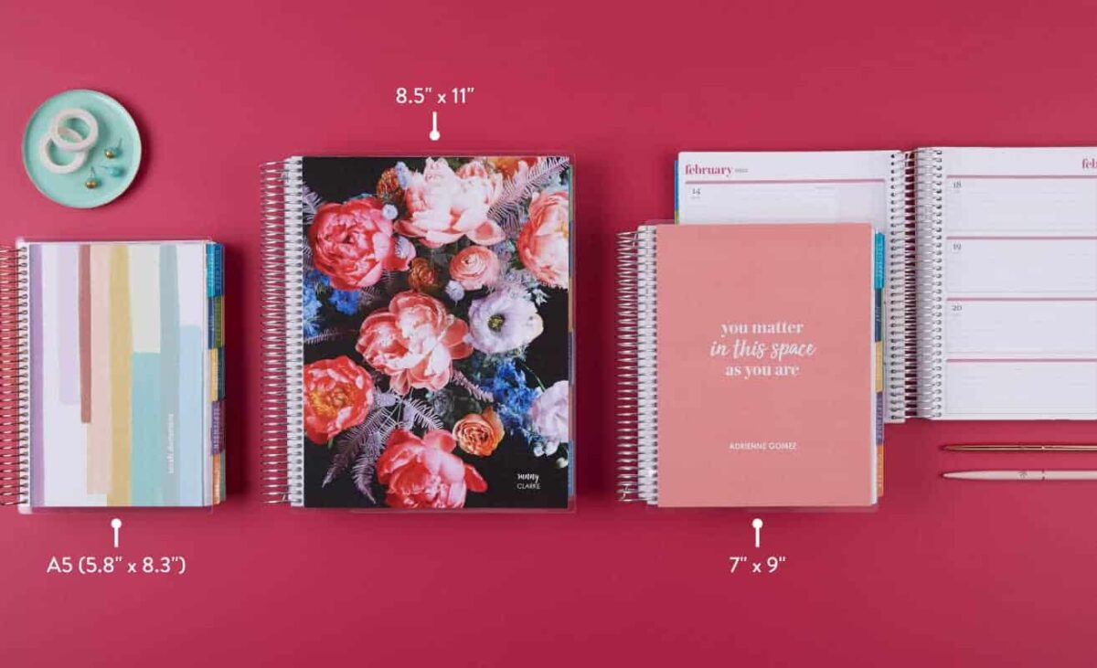 coiled Erin Condren LifePlanners in a variety of sizes