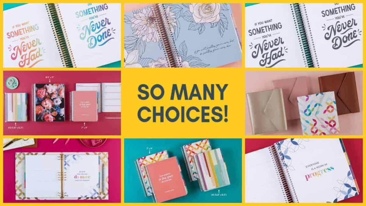 collage of all Erin Condren LifePlanner options for 2021/2022