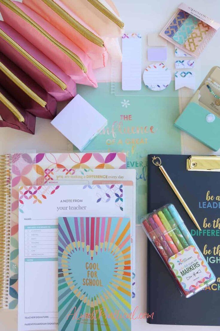 collection of Erin Condren Teacher Planner Accessories