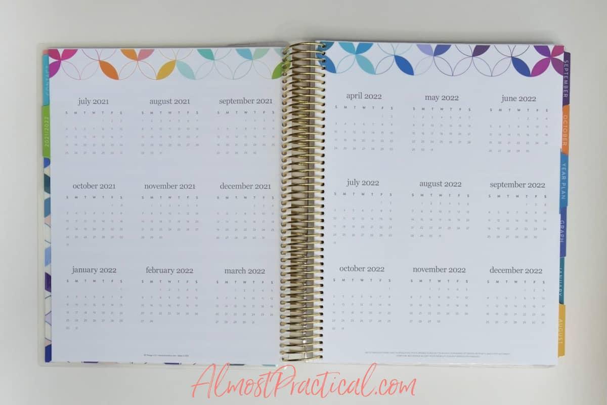 mini months pages in the Erin Condren Teacher Lesson Planner