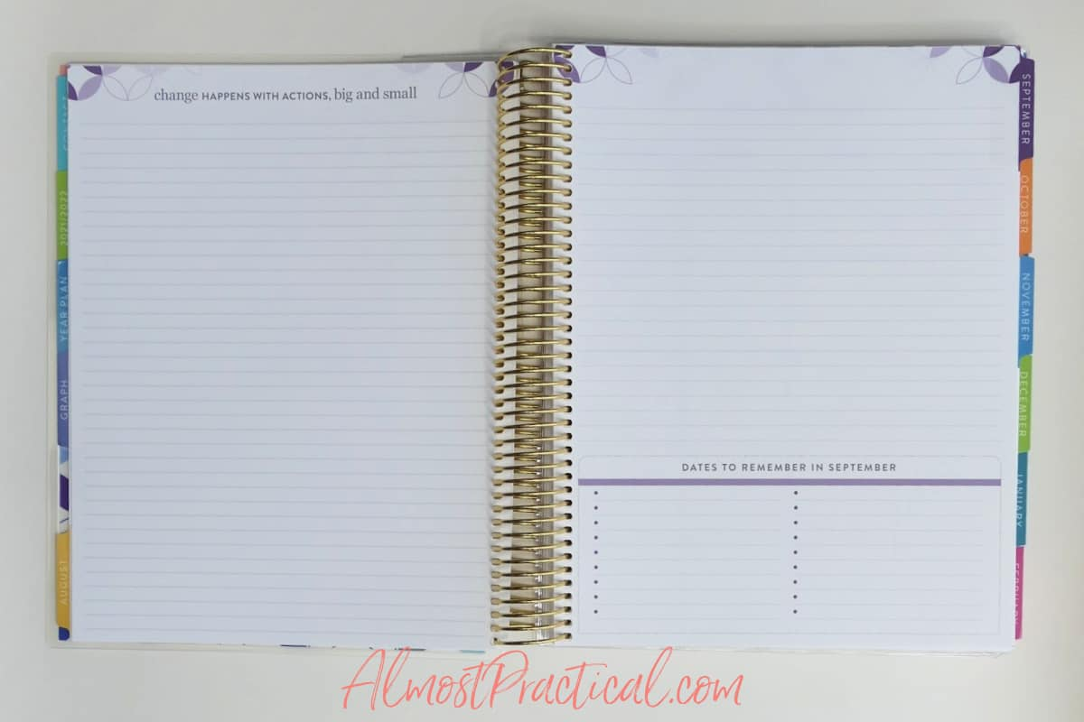 dates to remember pages in the Erin Condren Teacher Lesson Planner