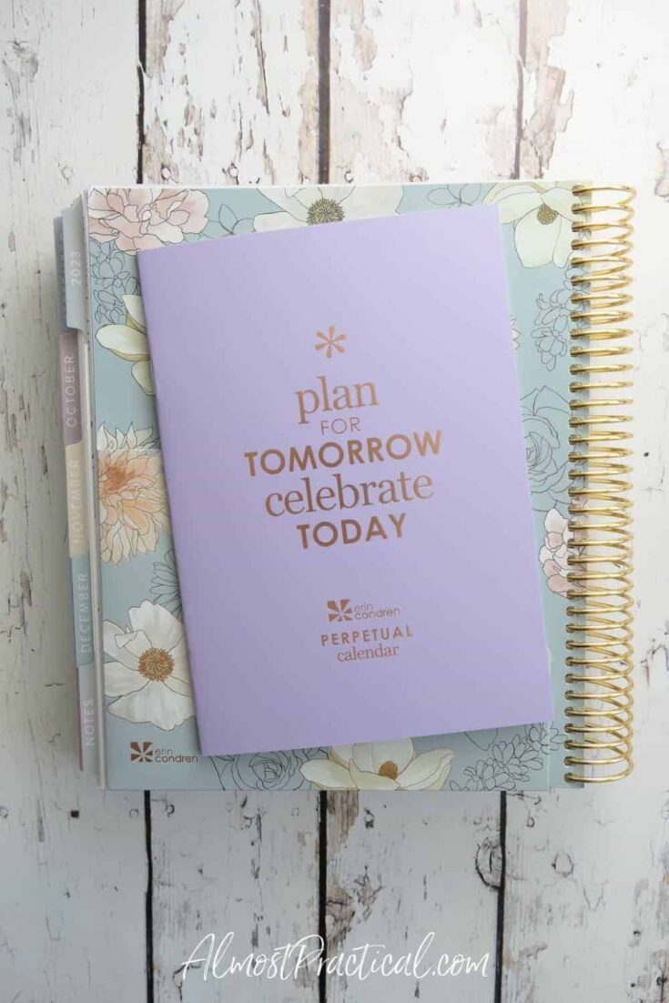 erin condren flora lifeplanner with the perpetual calendar