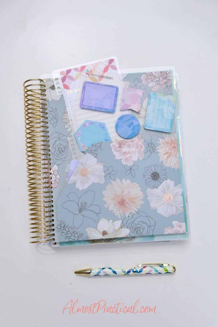 erin condren planner folder in the Flora design