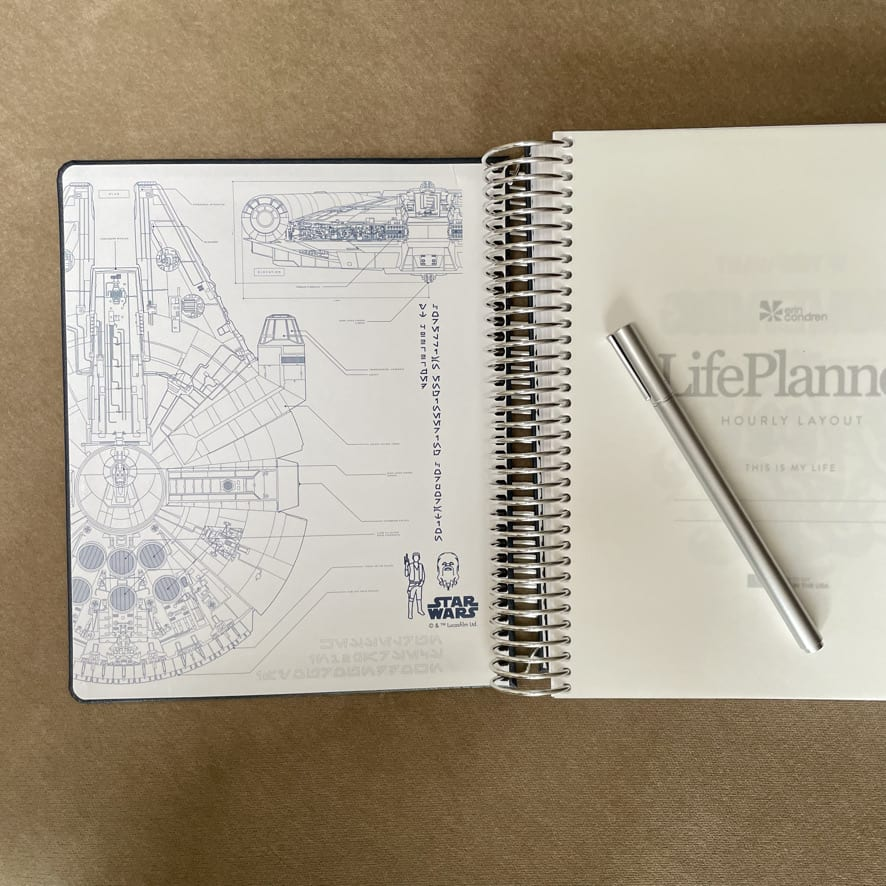 The inside cover of the Erin Condren Star Wars LifePlanner with the navy blue vegan leather cover showing a detailed drawing of the Millenium Falcon