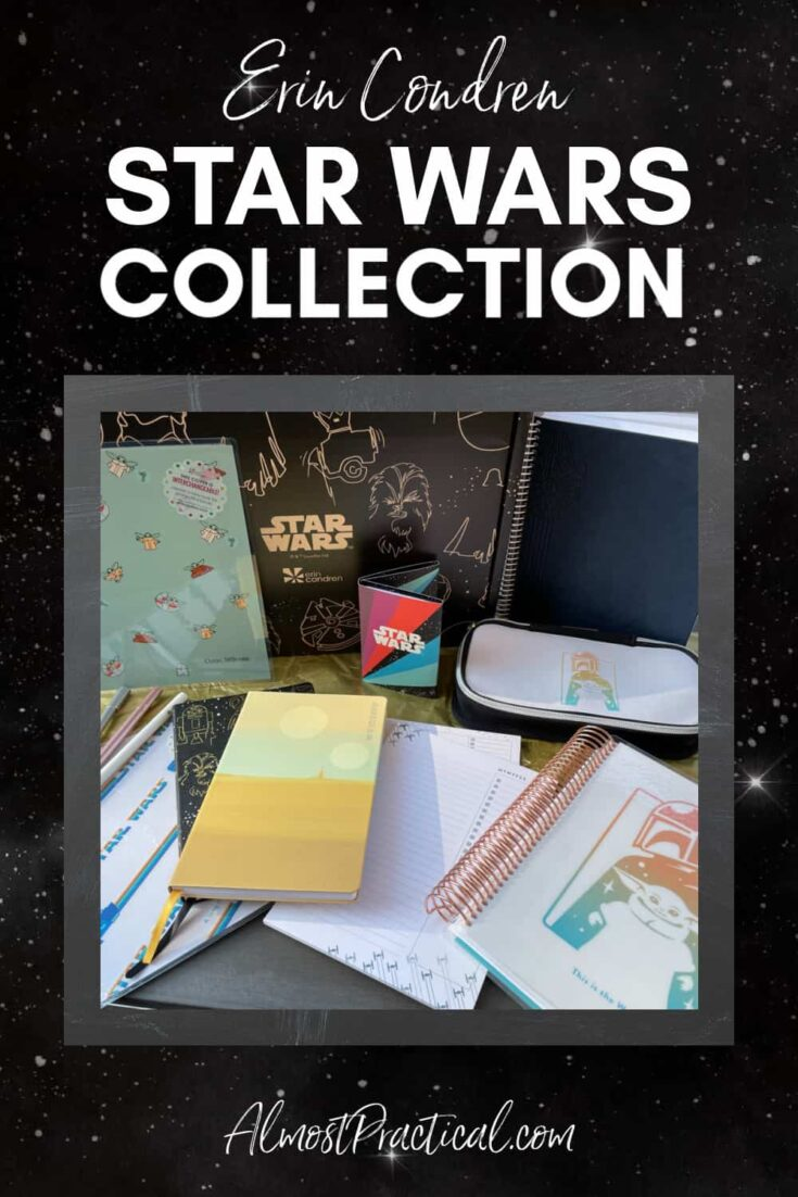 A collection of Erin Condren planners and accessories in the Star Wars theme.