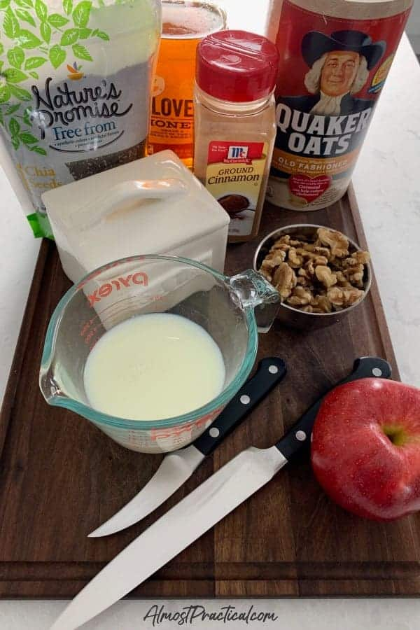 Homemade apple cinnamon oatmeal ingredients.