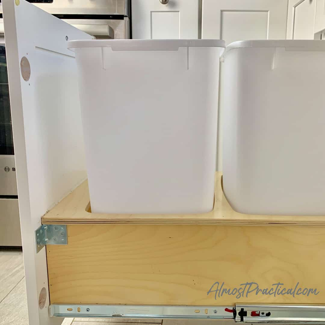 pull out kitchen trash can cabinet - bottom mount