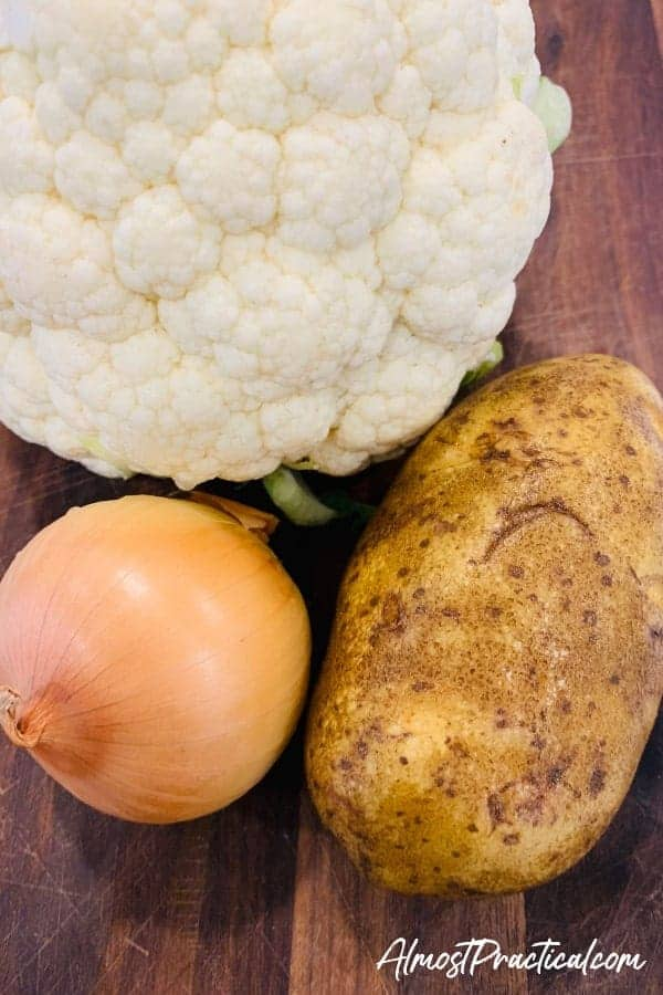 cauliflower, potato, and onion