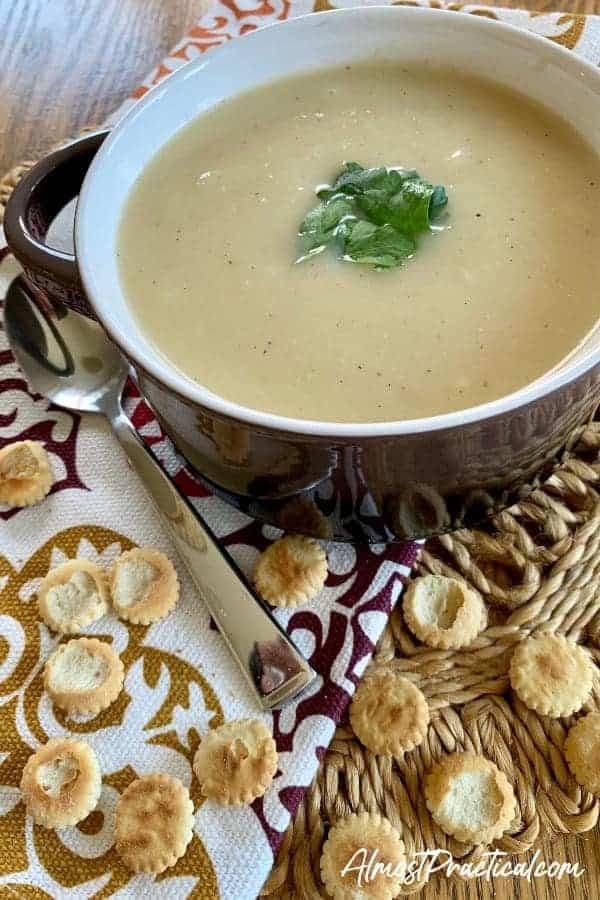Homemade cauliflower potato soup