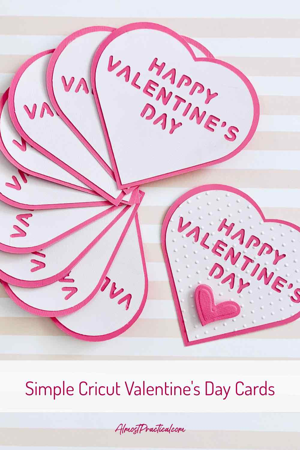 Here are some Valentine's Day cards that you can make on your Cricut machine. They are perfect for teens who want something simple and not too kid like. These heart shaped card have just two layers with a chunky easy to cut out font.