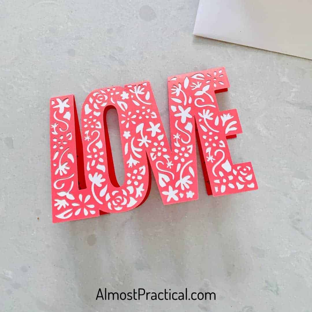 LOVE Cricut Valentine's Day Card in red and white