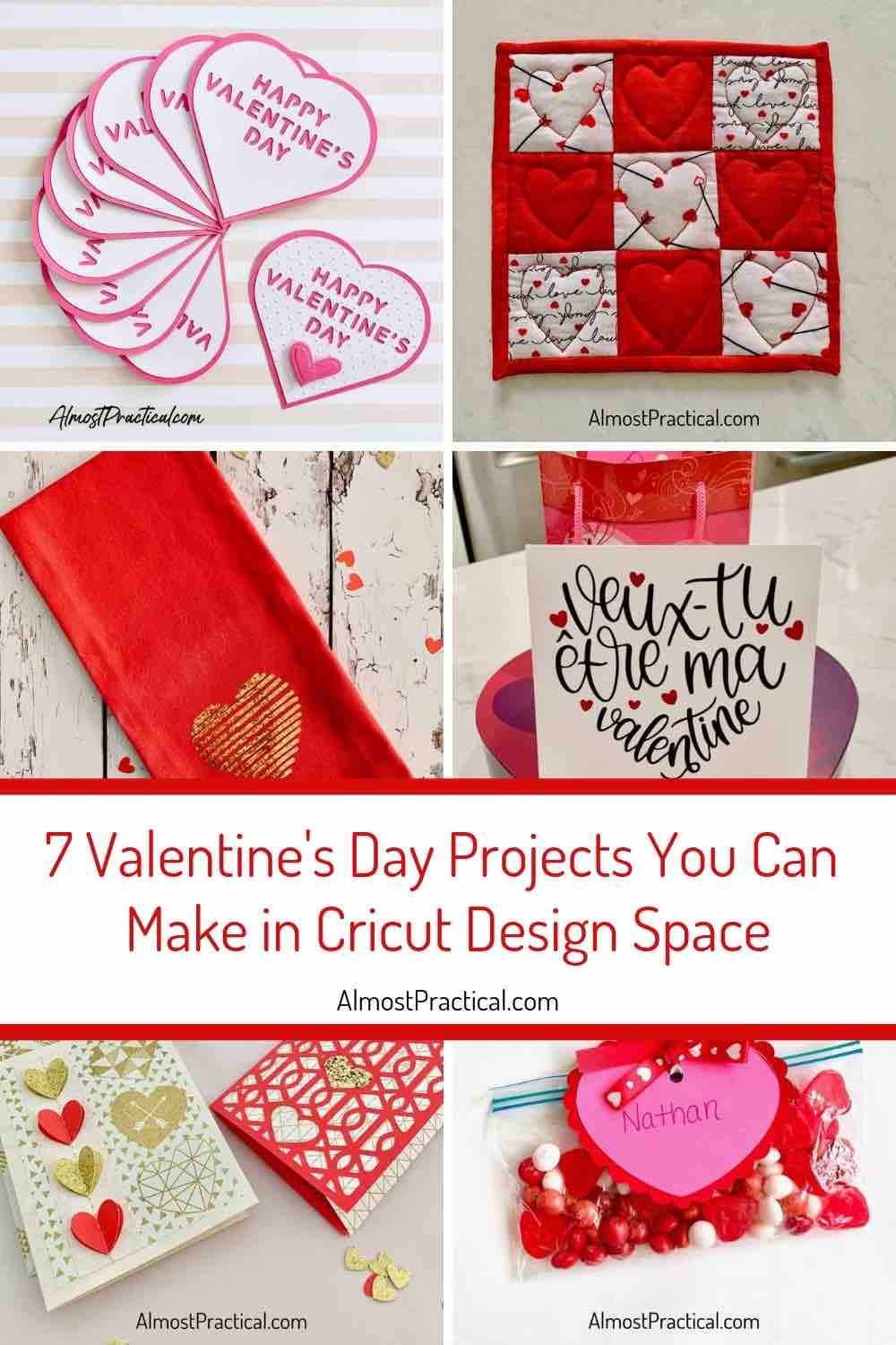 Collage of Cricut Valentine's Day Projects