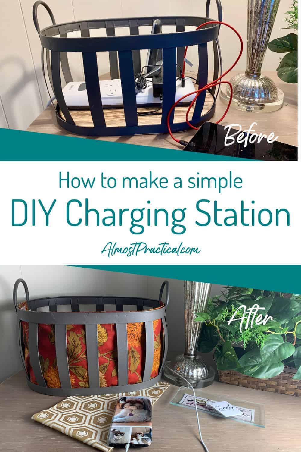 DIY charging station pictures before and after