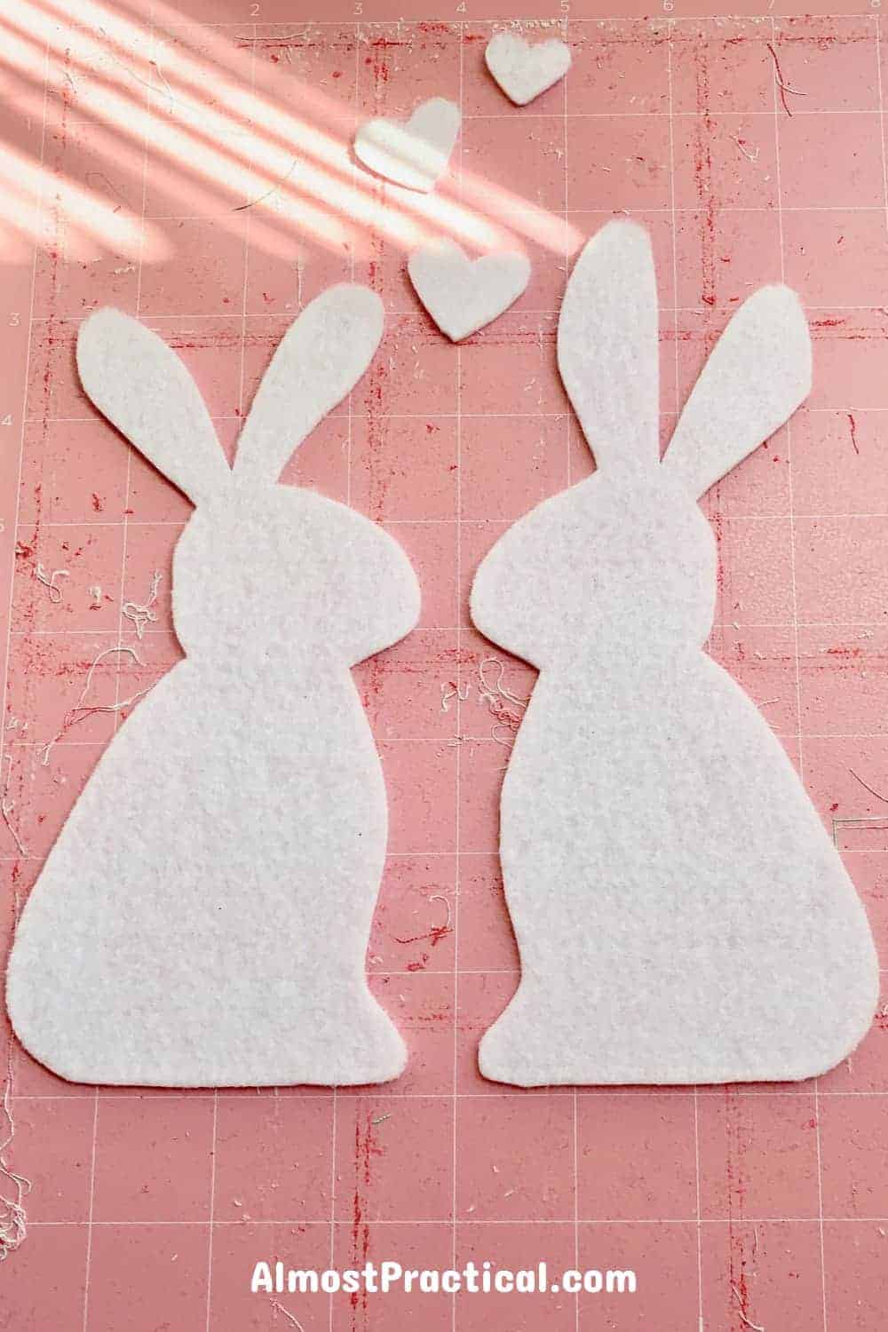 felt bunnies on cricut maker mat