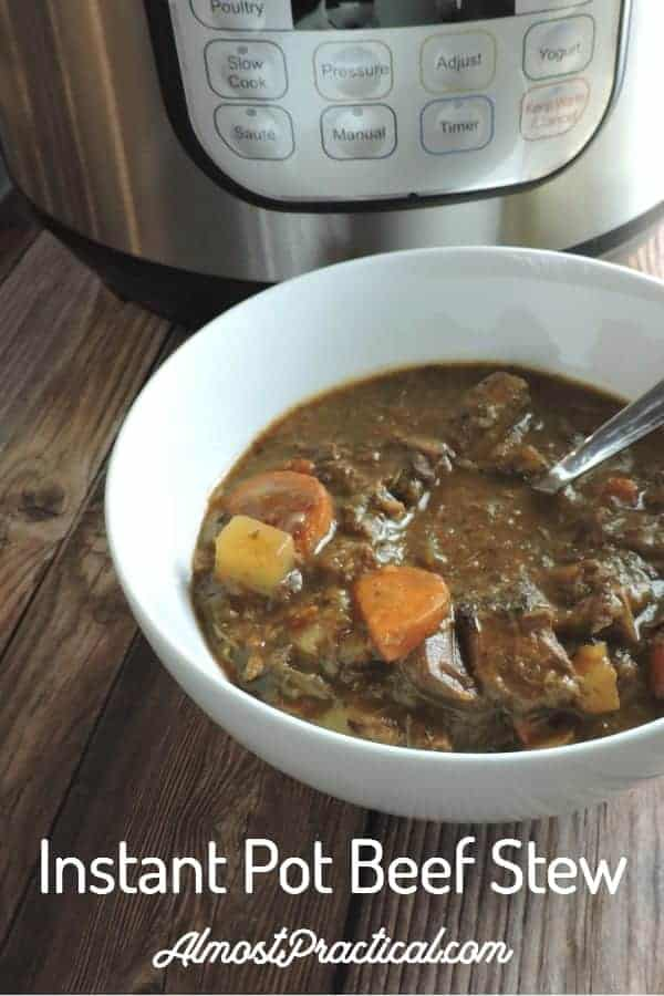 The best quick and easy Instapot Beef Stew Recipe with red wine. Make this hearty meal in your Instant Pot for a delicious one pot dinner. #instantpot #recipes #beefstew #soups #instapot