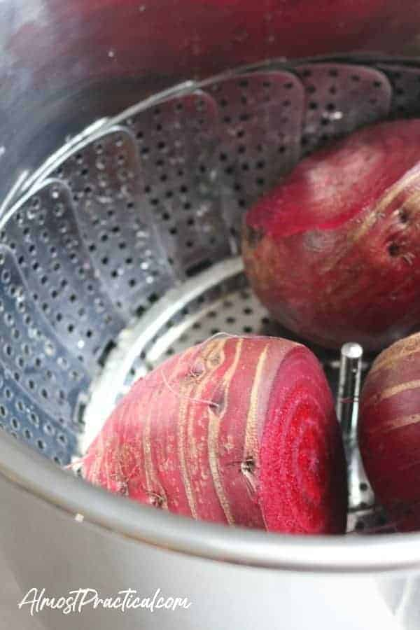 Beets in steamer basket in Instant Pot