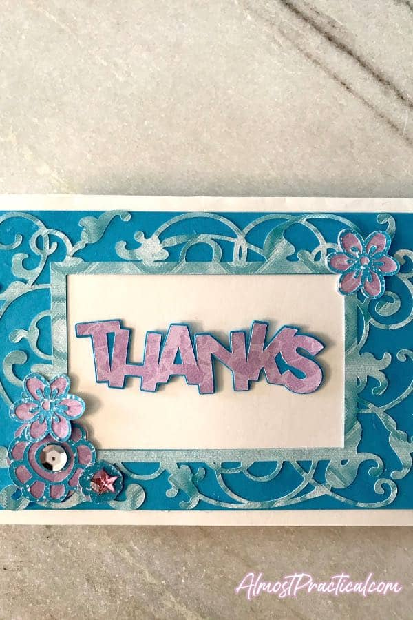 Thank you card made on Cricut